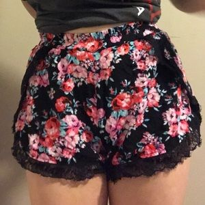 black and floral shorts